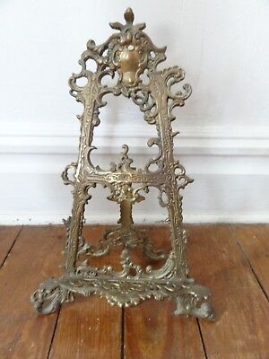 """Repro Victorian antique style brass ornate rococo easel 15"""" tall. For paintings"""