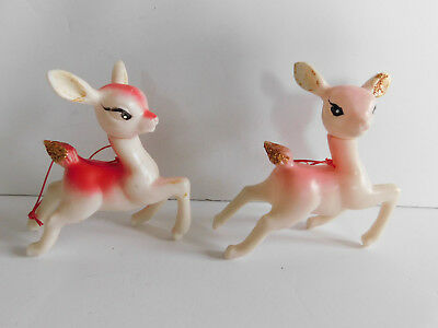 Two Vintage Pink Christmas Reindeer Plastic Heads Move to Pose  Ornaments