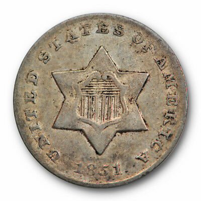 1851 O Three Cent Piece Silver Star 3cs New Orleans About Uncirculated #3541