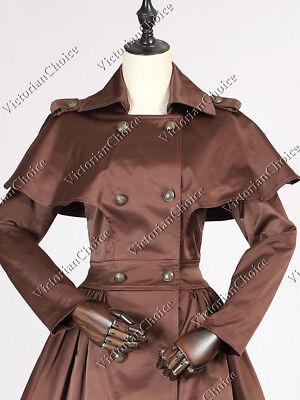 Victorian Hogwarts Witch Lolita Steampunk Chocolate Cape Trench Coat Dress C018