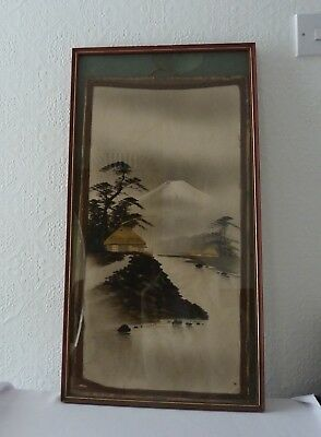 Antique Japanese Ink and Wash Painting of Landscape, Gilding, Framed 1920's