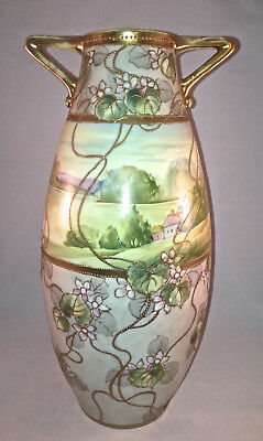 """Antique Nippon Hand Painted Jeweled 11-3/4"""" Handled Vase With Landscape/ Flowers"""