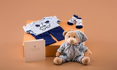**SALE**Baby  Boy Gift Box - 3PC OUTFIT, TEDDY & CARD
