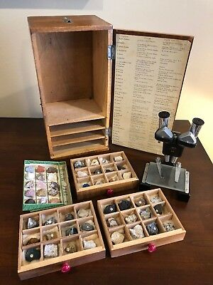 Vintage Tasco working Microscope 30X Stereo with 51 Geological Specimens