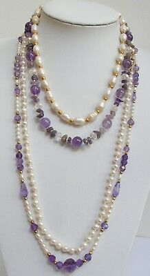 Long vintage hand knotted cultured pearl necklace + amethyst necklace + 2