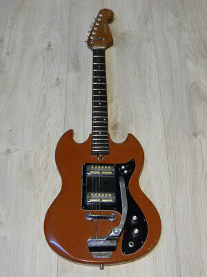 vintage JOHNNY GUITAR lawsuit SG style solid E-Gitarre GOLD FOIL pu Japan 1960s