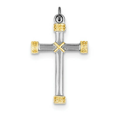 Sterling Silver Rhodium-plated & 18k Gold-plated Rope Cross Pendant QC5386