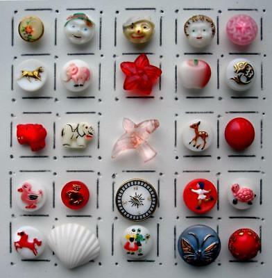 25 Vintage Glass Realistic & Picture Buttons