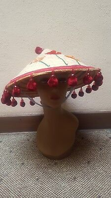 Vintage VIETNAM Asian STRAW COOLIE HAT Rice Paddy~EMBROIDERED~FRINGE Tassels