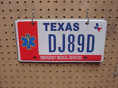 Texas License Plate Single Emergency Medical Services No Dj89D