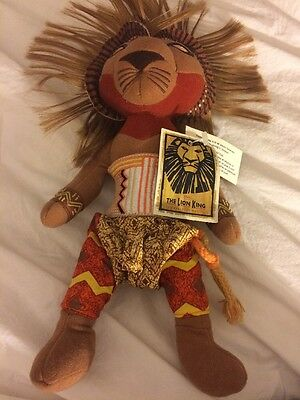 Disney NWT's The Lion King Broadway Musical Simba Plush Bean Bag Doll 13 Inch