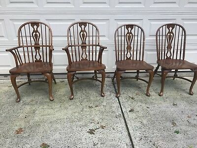 Drexel Heritage Chatham Oaks Wood Colonial Dining Chairs set of 4