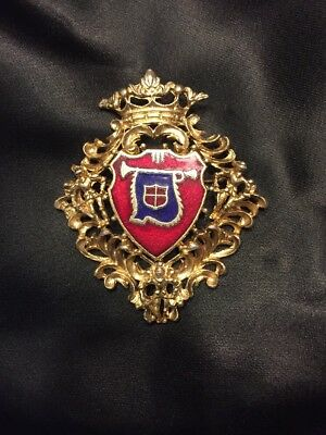 Uniform Or Hat Shield-Gold,Red,And Blue Crest