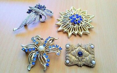 Lot of 4 Large Vintage Brooches Pins with Blue Rhinestones