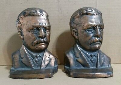 President Teddy Roosevelt,Cast Iron Bookends,VINTAGE 1900's-1910's