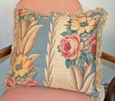 Handcrafted Glen Court Vintage Barkcloth Fabric Fringe Accent Pillow