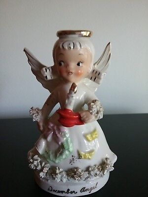 Cute Vintage Relco December Angel Holding A Candle!  Wreath W/bell On Dress