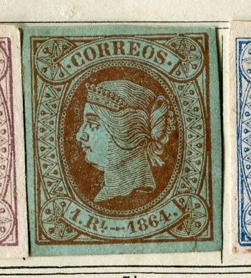 SPAIN; 1864 early classic Isabella Imperf issue fine Mint hinged 1R. value