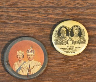 2 British Royalty Pinback Buttons King George V & Mary And George VI & Elizabeth