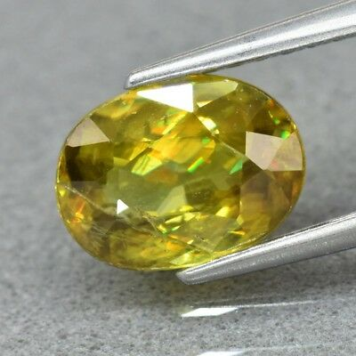 1.44ct 8x6mm Oval Natural Greenish Yellow Sphene, Super Sparkles