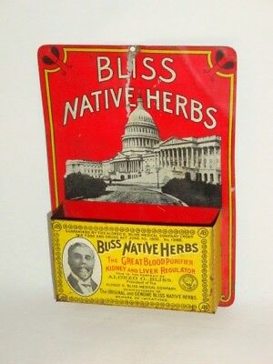 Nice Old Tin Litho Bliss Native Herbs Pharmaceutical Advertising Match Holder