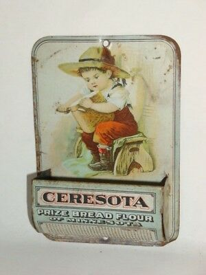 Nice Old Tin Litho Ceresota Brand Flour Grocery Advertising Match Holder Display