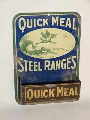 Nice Old Tin Litho Quick Meal Brand Steel Ranges Advertising Match Holder