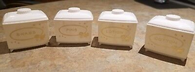 Vintage Plastic Nursery Canister Set Containers Baby Vanity Pins Swabs Cotton