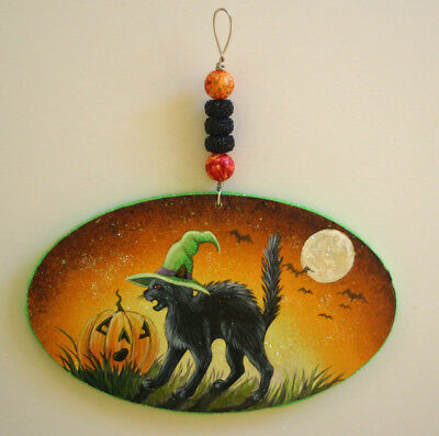 HANDPAINTED wood ornament HALLOWEEN black cat JOL glitter magic MOON