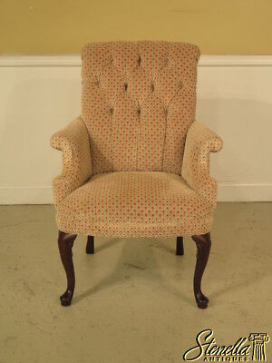 23222: HANCOCK & MOORE Queen Anne Mahogany Tufted Back Upholstered Chair