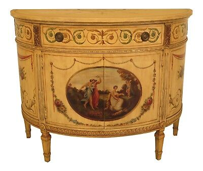 43150EC: Adams Style Paint Decorated 1/2 Round Commode