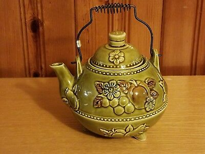 Vintage Green Footed Teapot with Embossed Flowers made in Japan Wire Handle