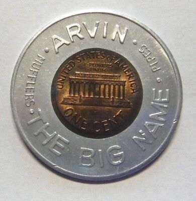 Arvin Mufflers And Pipes The Big Name 1963 Encased Lincoln Cent