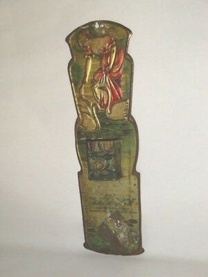 Nice Old Tin Litho Embossed The Reliable Store Advertising Match Holder Display