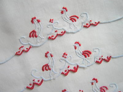 4 Vintage Madeira White Linen Embroidered Cocktail Napkins Red & Blue Roosters