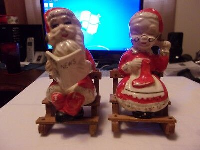 Mr and Mrs Santa with their wooden Rockers Figural Salt And Pepper Shaker Set