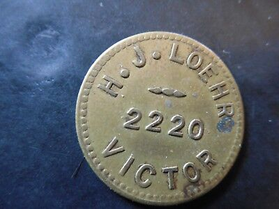 H.J. Loehr Trade Token Scrip Good For 10c In Trade 2220 Victor Medal Coin