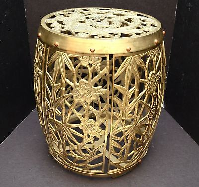 Mid Century Solid Brass Asian Round Garden Stool Hollywood Regency Side Table