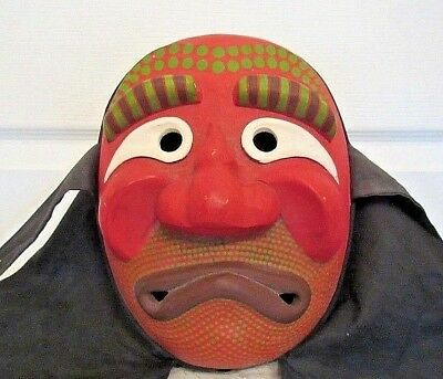 Vintage Japanese Hand Carved & Painted Theatre Mask / Signed