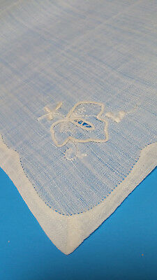 6 White Sheer Linen Solo Leaf Embroidery Double Fold Edge Luncheon Tea Napkins