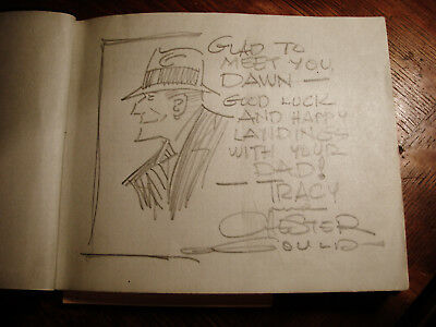 1934 Dick Tracy Drawing Autograph Book Of Nbc Radio & Movie Stars Family Member