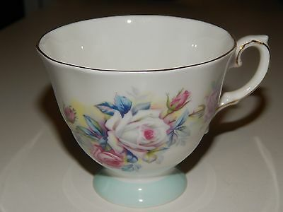 Royal Grafton Teacup Baby Blue Band White & Pink Rose