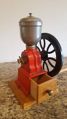 Antique Coffee Grinder Mill Manual ELMA Hand Crank Vintage Wood