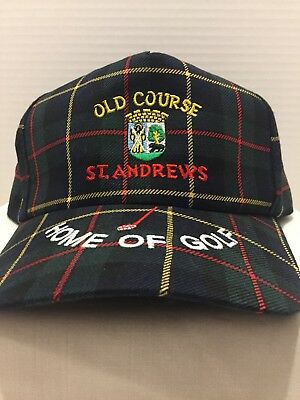 76531fe3923b5 Old Course St Andrews Scotland Home of Golf Cap Hat Green Plaid Adjustable