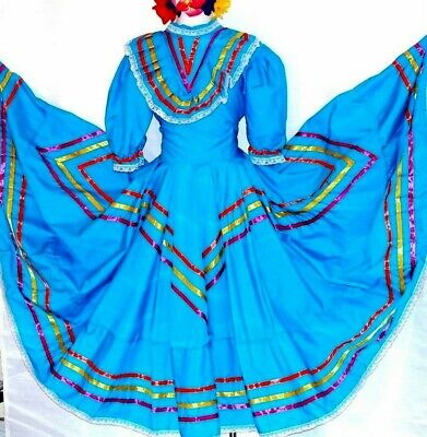 Jalisco Mexico Blue Dance Dress 5 D Mayo Adelita Double wide Folkloric All sizes