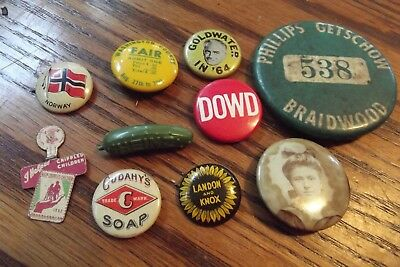 Collectible Vintage  Pinbacks, Buttons, small  Lot  political advertising plus