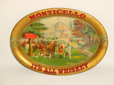 Nice Old Tin Litho Monticello Brand Whiskey Advertising Tip Tray