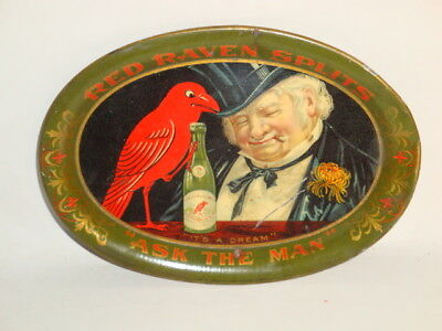 Nice Old Tin Litho Red Raven Brand Splits Advertising Tip Tray 1 of 2