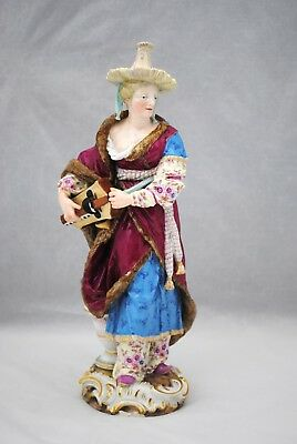 Meissen Figurine of a Woman Playing a Musical Instrument