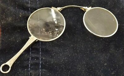 Antique Etched Sterling T & R Folding Opera Glasses